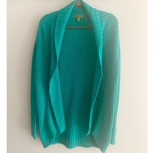 Cozy Knitted Teal Cardigan Sweater Oversized
